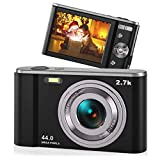 44MP Small Digital Camera for Photography Beginners, 2.7K Vlogging Camera 2.88' IPS 16X Digital Zoom Point and Shoot Camera for Kids Teens Christmas,Thanksgiving Days,Birthdays Gift (Black)