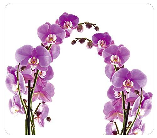 WENKO Plaque multi Fleurs d'orchidées - pour plaques de cuisson vitrocéramiques, planche à découper, Verre trempé, 56 x 0.5 x 50 cm, Multicolore