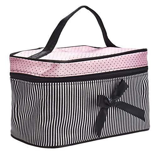 N/F Femmes Bow Stripe Cosmetic Bag Dames Square Makeup Bag Travel Organizer Portable Multipurpose Toiletry Bag 19 * 12 * 11 Cm