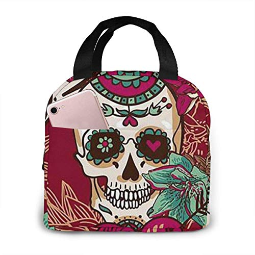 Portable Lunch Bag Sugar Skull Insulated Fashionable Adult Lunch Bag,Leakproof Lunch Tote for Women Insulated Lunch Bags
