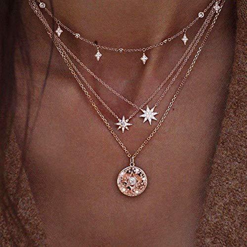 BERYUAN - Collar de perlas de sol doradas para mujeres, adolescentes, collares de moda