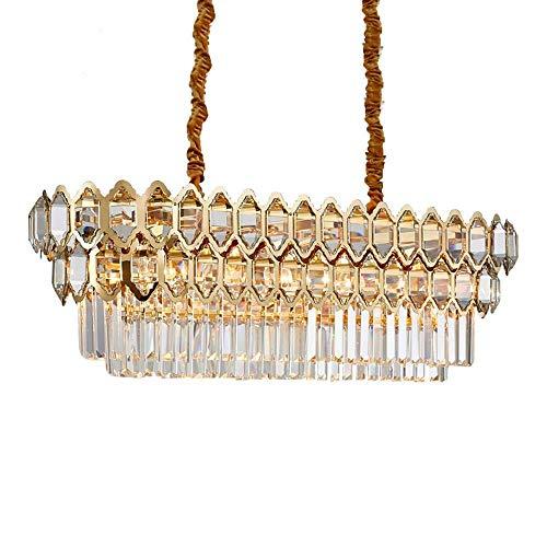 LJWJ Lámpara de Techo, Iluminación de Araña Moderna de Lujo para Comedor Lámparas Rectangulares de Cristal Dorado Isla de Cocina Grande Lámparas de Cristal Led,Luz Fresca 6000K