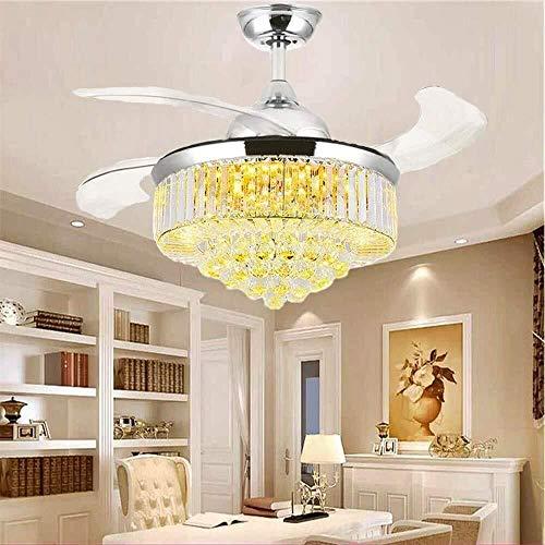 Lámpara de ventilador de techo de cristal de 42 pulgadas, hoja telescópica invisible remota, lámpara de araña de viento ajustable, lámpara de araña de ventilador LED de diseño extensible (42 pulgadas