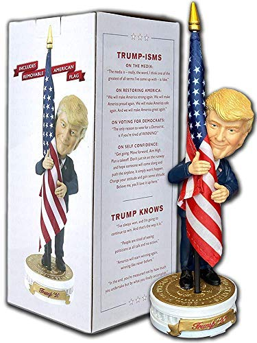 Donald Trump Bobblehead   (Trump Holding American Flag - Cloth Flag Included)…