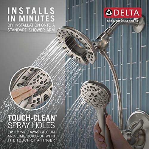 Delta Faucet Linden 17 Series Dual-Function Shower Faucet, Shower Trim Kit with 4-Spray In2ition 2-in-1 Dual Hand Held Shower Head with Hose, Stainless T17294-SS-I (Valve Not Included)