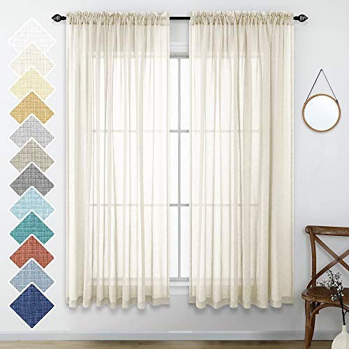 Neutral Linen Look Sheer Curtains 63 Inch Length Pair Set Light Filtering Semi Sheer Window Drapes for Bedroom Living Room Home Office Closet Backdrop Farmhouse Rustic Style Beach 52x63 Long Beige