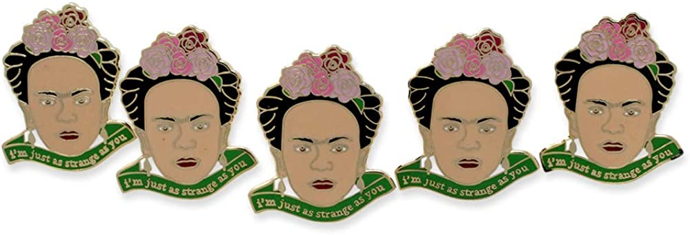 """WizardPins Inspired by Frida Kahlo """"I'm just as Strange as You"""" Enamel Pin"""
