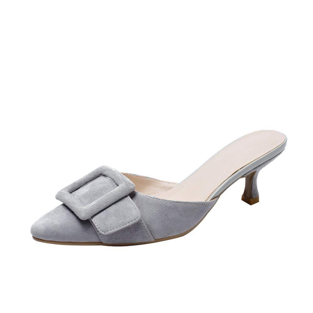 Nine Seven 女士麂皮小跟鞋手工舒适休闲包趾中跟高跟鞋