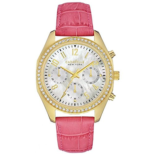 CARAVELLE NY WOMEN'S 36MM PINK LEATHER BAND QUARTZ MOP DIAL WATCH 44L169