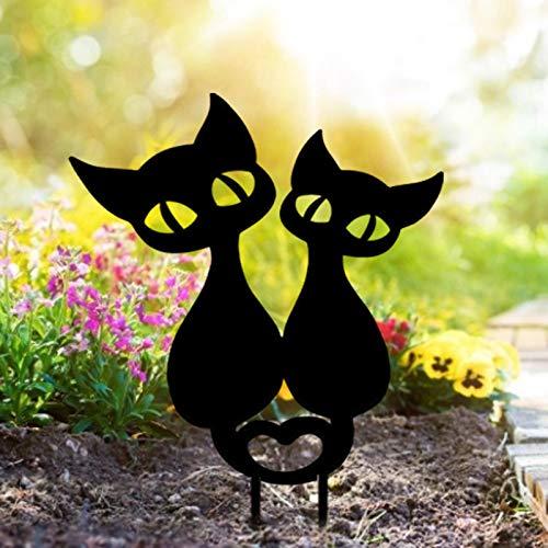 Gatto Yard Art - Decorazione per il pavimento del giardino, a forma di animali, per giardino, giardino, giardino, terreno, decorazione per gatti, silhouette di gatto