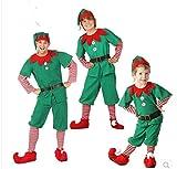 IKMV Hombres, Mujeres, niñas, niños, Navidad, Papá Noel, Disfraz de Elfo Verde, Cosplay, Familia, Fiesta de Navidad, Año Nuevo, Vestido Elegante, Conjunto de Ropa para-Masculino_100CM