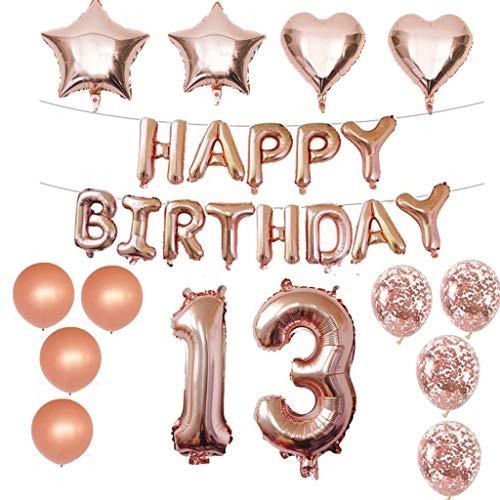 Crazy-m 13 Geburtstag Dekorationen Kit Folienballon 13 Geburtstag Dekorationen Rosegold für Mädchen Birthday Party Supplies Alles Gute zum Geburtstag Konfetti Happy Birthday 13 Buchstaben Banner,