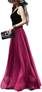 Mogogo Women's Slim Elastic Waist Summer Chiffon Full Circle Full Length Skirt