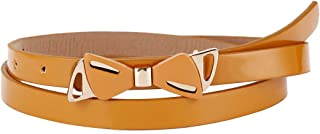 Damara Women Stylish Metal Bowknot Thin Faux Leather Belt