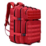 LHI Military Tactical Backpack for Men and Women 45L Army 3 Days Assault Pack Bag Large Rucksack with Molle System - Red