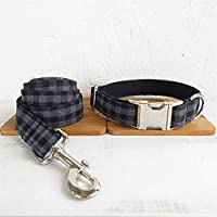 犬の首輪 ペットのひもの訓練犬ロープつばセット調節可能な携帯用の引きロープ ペット 用品 (Color : Black plaid, Size : Customized-S)