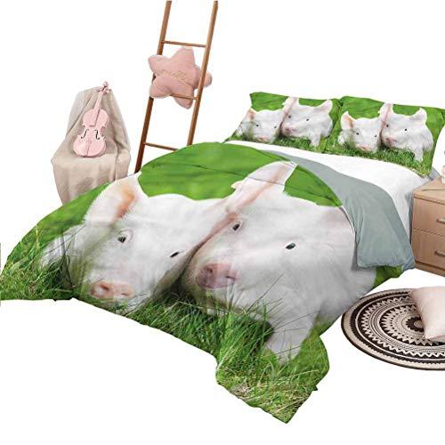 Nomorer Juego de colchas de 3 Piezas Juego de colchas Lindo de tamaño Doble Juego de Cama con Cierre de Cremallera Granero de cría de Animales de Granja de Cerdos