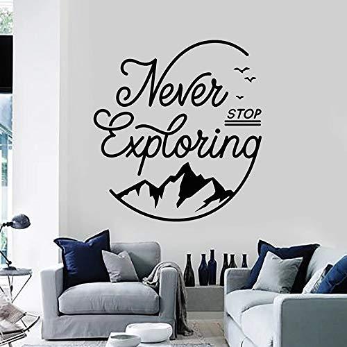 HFDHFH Citas Pegatinas de Pared Palabras Que Nunca Dejan de Explorar Camping montaña Arte Vinilo Ventana Pegatinas Dormitorio Sala de Estar decoración del hogar Mural