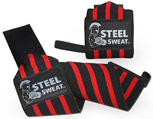 Steel Sweat Wrist Wraps Best for Weight Lifting, Powerlifting, Gym and Crossfit Training - Heavy Duty Support - Blue/White Stripes 18in