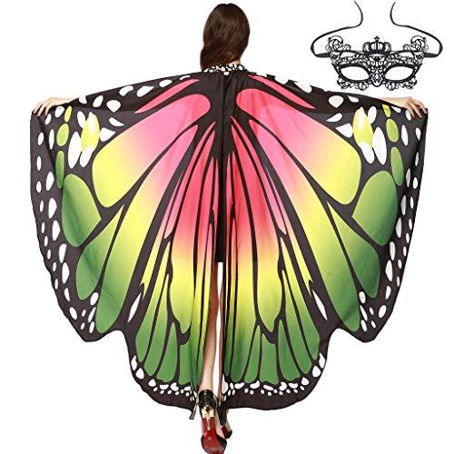 INLLADDY Schmetterlingsflügel Weiche Schmetterlinge Kostüm Schal Umhang Cape Fairy Lady Nymphe Pixie mit 1 Stück Spitze Maske für Frauen Mädchen Festivals Karneval A 168 x 130 cm