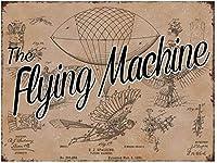 フライングマシンの特許、ブリキのサインヴィンテージ面白い生き物鉄の絵画金属板ノベルティ