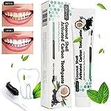 Kokosnuss Aktivkohle Zahnpasta-Natürliche Zahnaufhellung und Zahnreinigung -Weisse Zähne- Schwarze Zahncreme Ohne Fluorid -Tee Kaffee Fleck Entfernen- Whitening Zahnpasta- Für Empfindliche