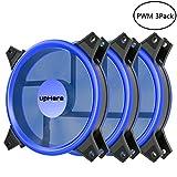 upHere PWM Ventole Ultra silenziose per Case 120 mm, con LED Blu, dissipatori di Calore e ...