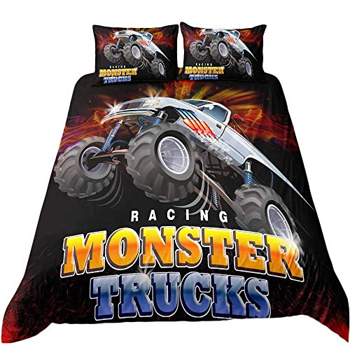 Helehome Monster Truck Bedding Duvet Cover Set Boys Hobby Sports Bedding Set Full Size Decorative 3 Piece Bedding Set with 2 Pillow Shams