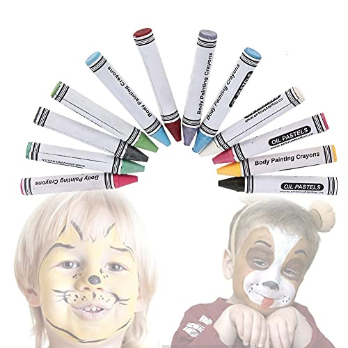 Face Body Paint Crayon, 12 Colors Face Paint Crayons Painted Pen for Children Face Painting Designs Safe and Non-Toxic for Sensitive Skin Halloween Makeup Oil Crayons Paint Art Tool