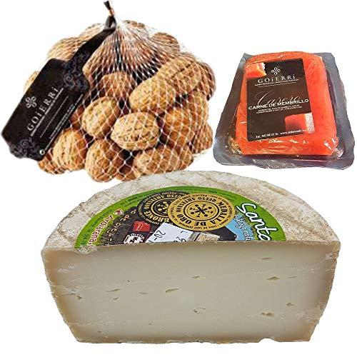 Queso con Membrillo y Nueces - Medio Queso de Oveja Curado del Pirineo Navarro - Bocaditos de queso, membrillo y nueces, si buscas un aperitivo fácil y rápido aquí tienes uno.