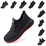Zapatos de Seguridad Hombre Trabajo Comodos Mujer con Punta de Acero Ligeros Calzado de Industrial y Deportivos Transpirable Negro Rojo Número 36-48 EU Negro Rojo 44