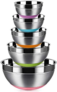 Stainless Steel Mixing Bowls (Set of 5), Non Slip Colorful Silicone Bottom Nesting Storage Bowls by Regiller, Polished Mir...
