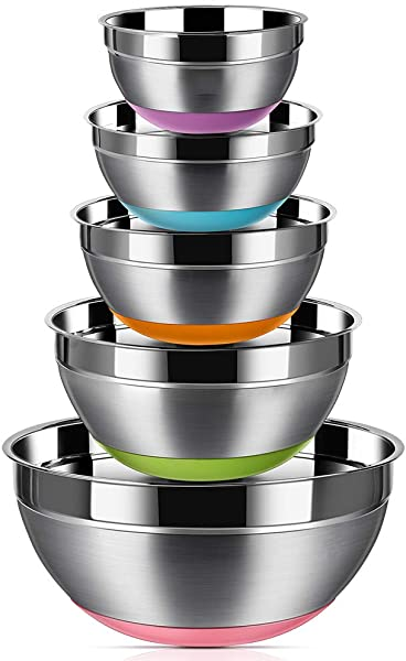 Stainless Steel Mixing Bowls Set Of 5 Non Slip Colorful Silicone Bottom Nesting Storage Bowls By Aammaxs Yyi Polished Mirror Finish For Healthy Meal Mixing And Prepping 1 5 2 2 5 3 5 7QT