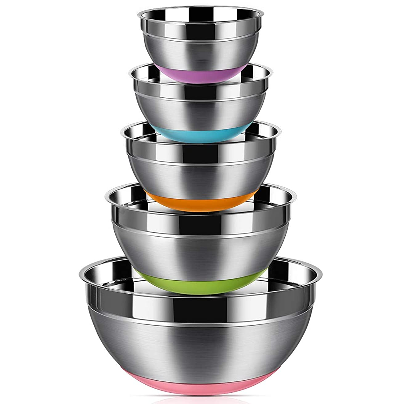 Stainless Steel Mixing Bowls (Set of 5), Non Slip Colorful Silicone Bottom Nesting Storage Bowls by Aammaxs-yyi, Polished Mirror Finish For Healthy Meal Mixing and Prepping 1.5-2 - 2.5-3.5 - 7QT