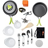 MalloMe Camping Cookware Mess Kit Backpacking Gear & Hiking Outdoors Bug Out Bag Cooking Equipment...