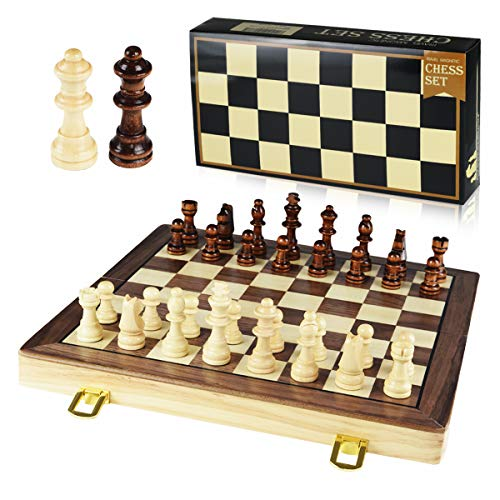 GYBBER&MUMU Wooden Chess Set Magnetic Chess Set Felted Game Board Interior Storage 11.6 x 1 x 11.4 inch