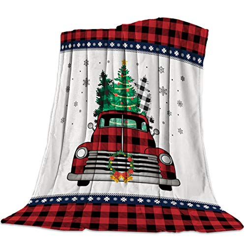 Homey Room Anti-Pilling Cozy Flannel Blanket for Adults Kids, Black Red Truck with Tree Snowflake Ultra-Soft Plush Microfiber Fuzzy Blanket White Christmas Wreath (40 x 50 Inches)