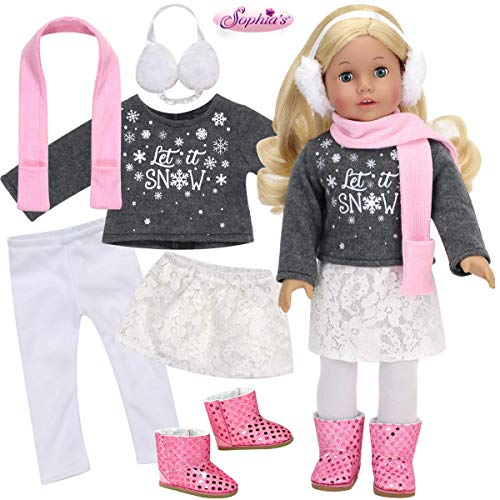 Sophia's Let it Snow Winter Doll Outfit, Includes Shirt, Pants, Skirt, Boots and Accessories for 18 in Doll