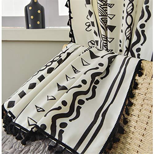 FACWAWF Inicio Cortinas De Sala De Estar De Dormitorio De Semi Sombreado Geométrico Blanco Y Negro De Estilo Marroquí Simple 140x215cm(2pcs)