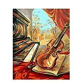 Liushenmeng Kit de Pintura al óleo para Adulto Sonido de la Musica Pintar por Numeros DIY Acrílica Pintura Kit para Adultos y Niños Principiantes 16 * 20 Pulgadas sin Marco