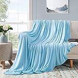 Elegear leichte Sommerdecke Kuscheldecke, Antiallergie & Atmungsaktiv Doppelseitig Tagesdecke für Besseren Schlaf weiche Bambus Decke Wohndecke Sofadecke Reisedecke 220x200 cm Blau