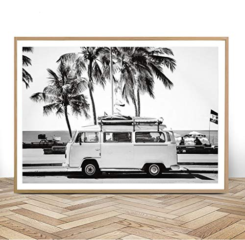 REDWPQ Camper Van Beach Print Surf Art Boho Decor Retro Blanco y Negro California Ocean Poster e Impresiones Modern Living Room Pictures 40 * 60Cm sin Marco