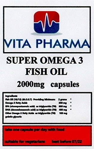 Super Omega 3 Fish Oil 2000mg, 60 Capsules, 2 Months Supply, by VITA PHARMA, Premium Product, Made here in The UK. Order Today.