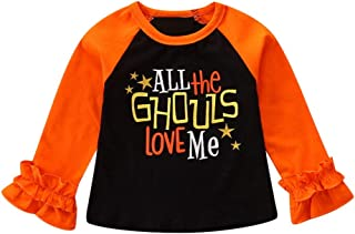 YOcheerful Printing T Shirt Toddler Kids Baby Girl Long Ruched Sleeve Clothes Halloween Tops O-Neck Clothes Outfit