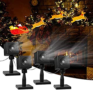 YUNLIGHTS Christmas Light Projector Santa and Reindeer Outdoor, LED Projector Lights Christmas Outdoor Decorations Holiday Projector for Yard Pathway, Home, Hotel, Party, Garden Decor 4packs