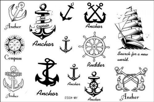 Fashion Tattoo Wasserdichte Anker nautischen Fake Tattoos