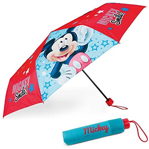 Paraguas Plegable Infantil de Mickey Mouse - BONNYCO | Paraguas Antiviento para Niños con Estructura Reforzada | Paraguas Infantiles para Bolso, Mochila o Viaje | Regalos Originales Disney para Niños