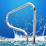 Acero inoxidable plata antioxidante piscina apoyabrazos piscina con base de instalación rápida, piscina de acero inoxidable apoyabrazos antideslizante interior exterior