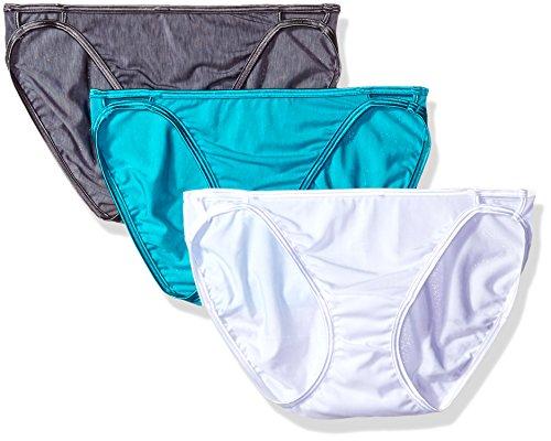 Vanity Fair Women's 3 Pack Illumination String Bikini Panty 18308, Steel Violet/Turquoise Ice/Star White, Small/5