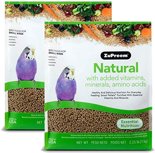 ZuPreem Natural Bird Food for Small Birds, 2.25 lb Bag (2-Pack) | Made in The USA, Essential Vitamins, Minerals, Amino Acids for Parakeets, Budgies, Parrotlets